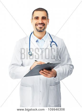 Portrait of a doctor with prescription board in hands isolated on white background