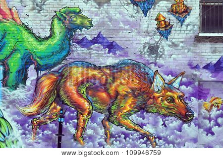 Street art wolf and camel
