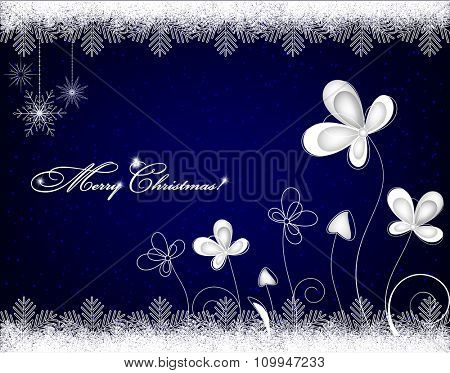 Christmas background with snowflakes and ice flowers