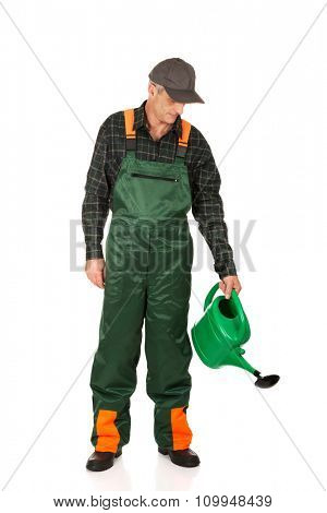 Mature gardener pouring water from watering can.