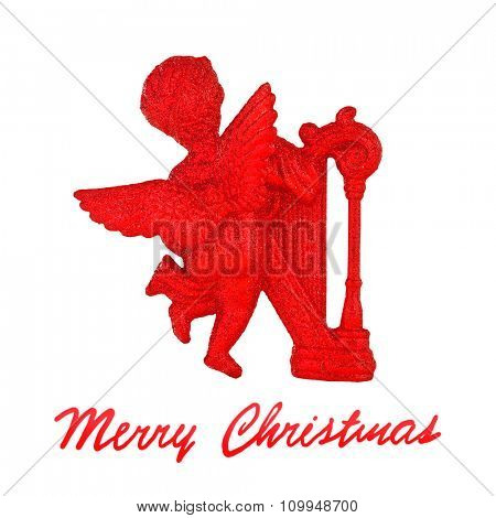 Christmas angel, red christmas tree decoration, little red cherub with harp isolated on white background, festive greeting card with text space, Merry Christmas