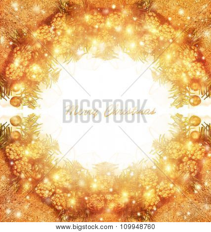 Merry Christmas greeting card with text space, beautiful golden traditional Xmas wreath on white background, happy holidays concept