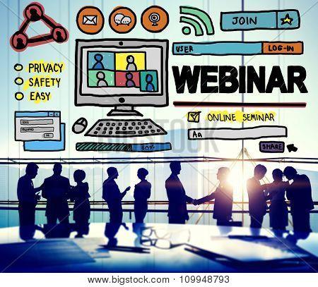 Webinar Online Seminar Global Conmmunications Concept