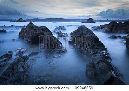 Beautiful scenery of the coast in the ocean at night