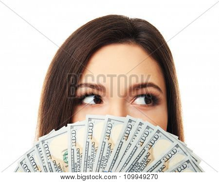 Woman holding money isolated on white, closeup