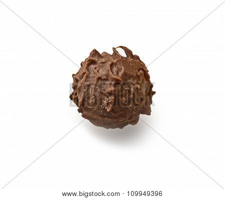 Closeup Of Chocolate Candy . Isolated.