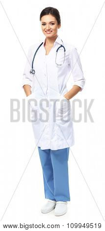 Smiling medical doctor isolated on white