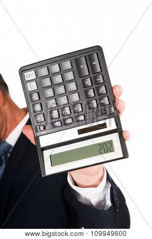 Financier businessman hand with calculator.