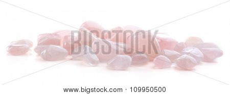 Pink quartz pile isolated on white background
