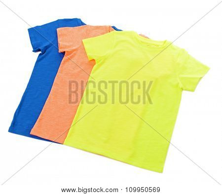 Colourful cotton T-shirt in a row isolated on white background