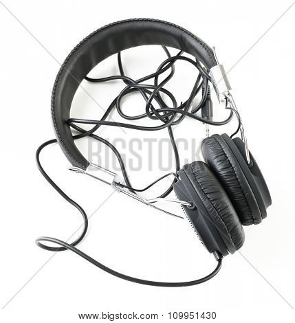 Black headphones isolated on white