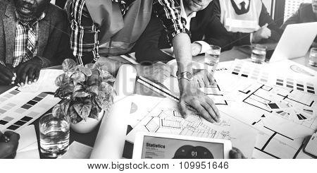Business People Meeting Architect Engineer Construction Concept