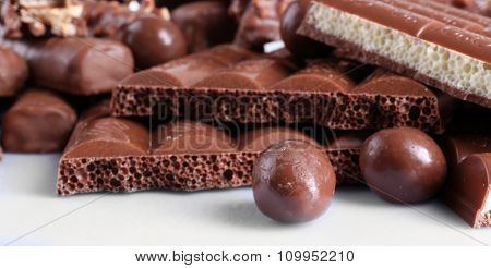 Mix of chocolate on table, close-up