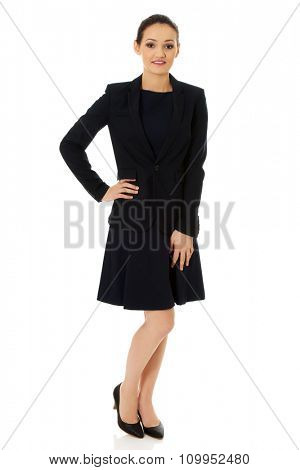 Beautiful smiling businesswoman in formal suit.