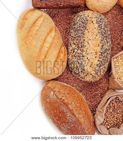 Different types of bread, pasta and cereal, isolated on white