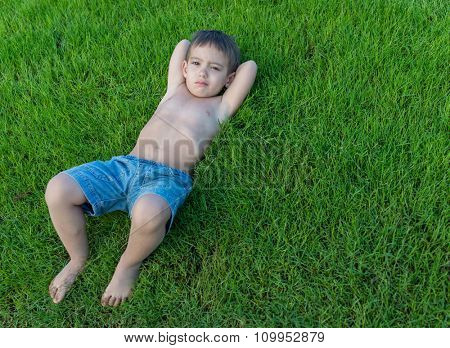 summer vacation for kids on perfect meadow grass