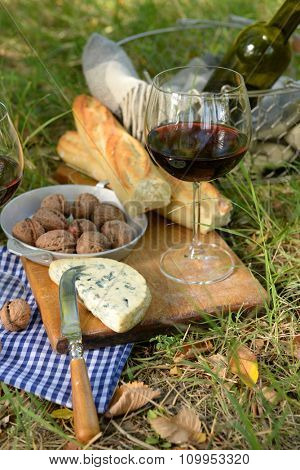 Wine, delicious cheese, walnuts and baguette on wooden board, close up