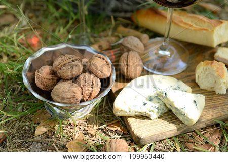 Romantic dinner outdoors, close up