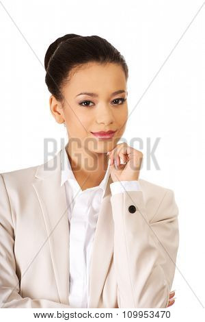 Beautiful young smiling african businesswoman.