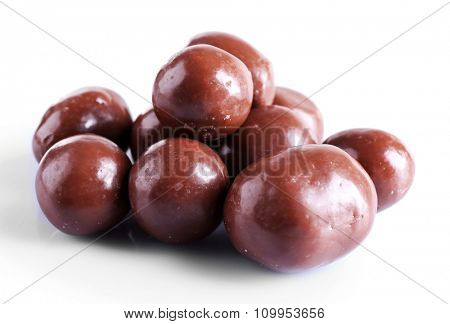 Chocolate balls, isolated on white