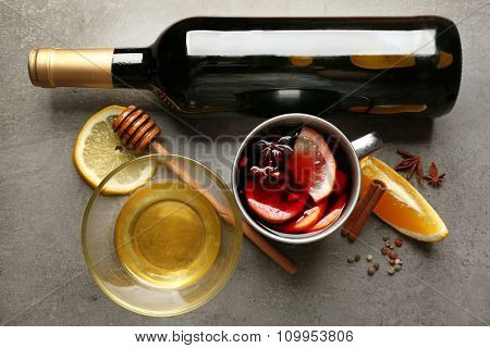 Beautiful composition of traditional mulled wine on the table