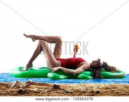 woman on the beach sea sunbathing holidays vacations silhouette isolated on white background