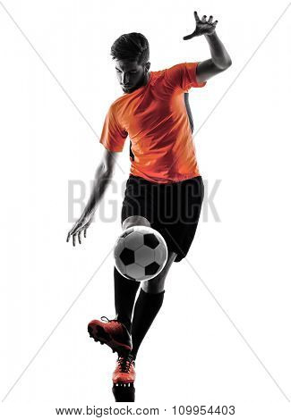 one caucasian Soccer player Man in silhouette isolated on white backgound