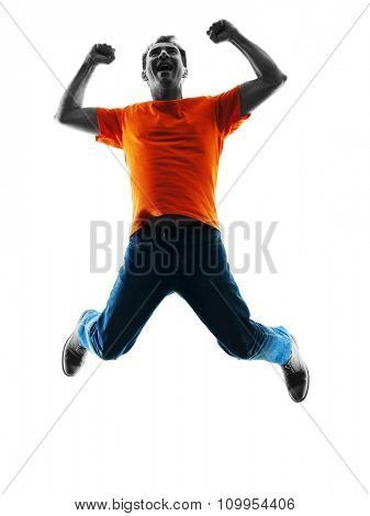 one causcasian man jumping happy  in silhouette isolated on white background