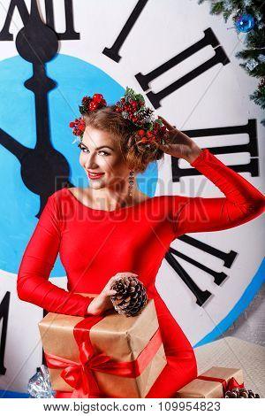 Christmas Eve. Girl Near Big Clock. Five To Midnight.