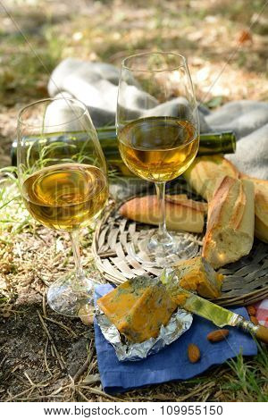 Beautiful composition of wine, cheese, almonds and baguette, outdoors