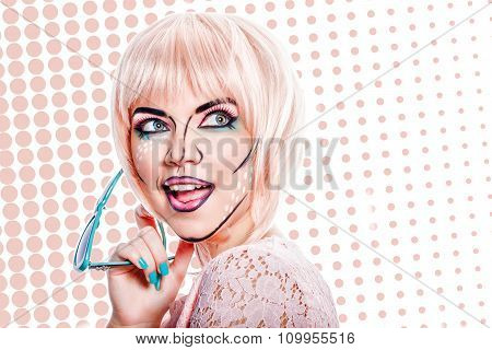 Girl With Sunglasses And Makeup In Style Pop Art On Colored Background.
