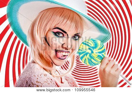 Girl With Makeup In Style Of Pop Art, Hat And Lollipop. Colored Background.