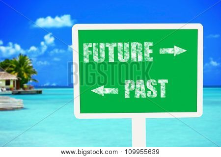Future concept. Wooden sign board on ocean background