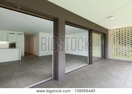 Architecture, new apartment, wide veranda, indoor view