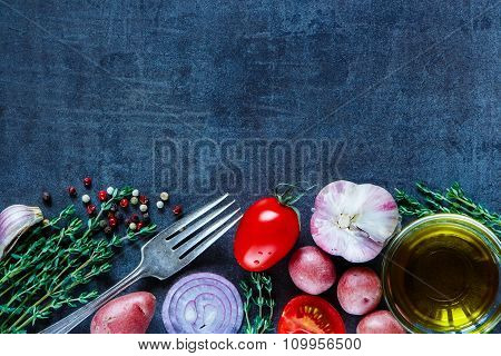 Ingredients On Vintage Background