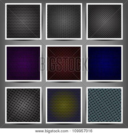 Set Of Metal Backgrounds Vector