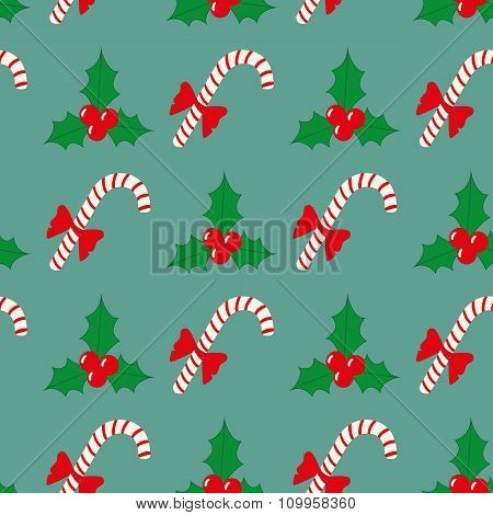 Vector Christmas Seamless Pattern With Berries And Candy
