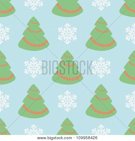 Vector Christmas Seamless Pattern With Christmas Trees And Snowflakes