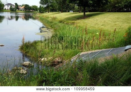Culvert at the Edge of a Small Lake