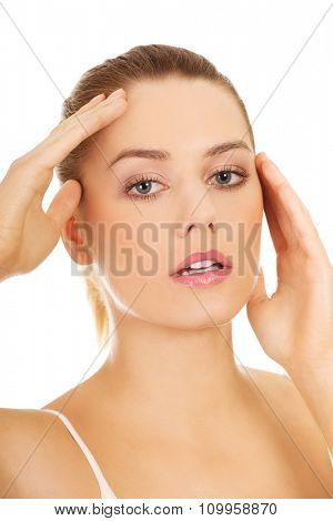 Portrait of beautiful caucasian woman. Spa concept. Isolated on white.