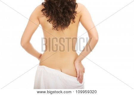 Beautiful spa woman wrapped in towel.