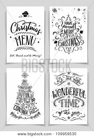 Christmas Hand Lettered Greeting Cards Set
