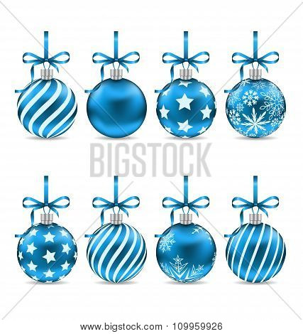 Set Christmas Blue Shiny Balls with Bow Ribbons