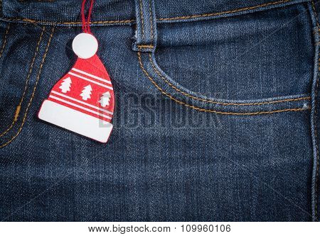 New Year, Christmas Background. Jeans Texture