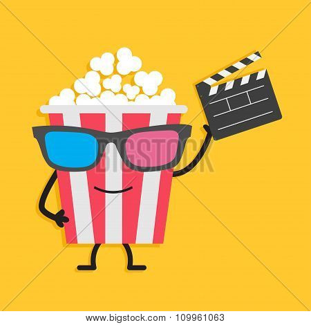 Popcorn Box In 3D Glasses. Character With Face, Legs And Hands. Clapper Board. Cinema Icon Flat Desi