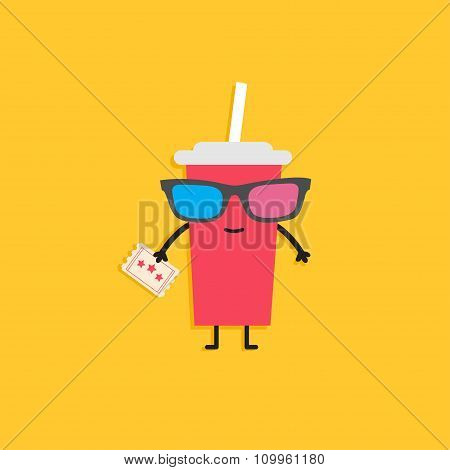 Soda Glass Characters In 3D Glasses Holding Ticket. Cinema Icon Flat Design Style.