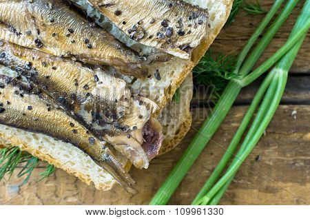 Toast With Sardines For The Background