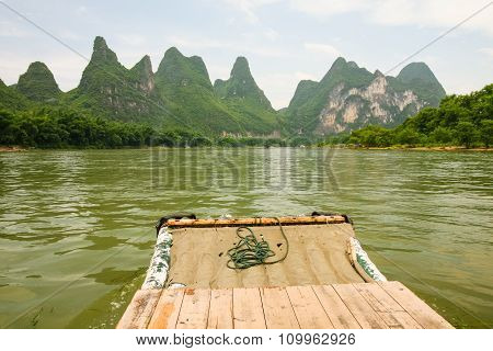 Bamboo rafting li river china