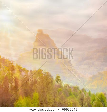 natural landscape with cloudy sky, mountains and trees reflected in water