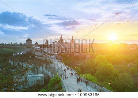 Kamyanets-Podilsky, Ukraine - May 26, 2014: View on the castle in Kamianets-Podilskyi in the evening. Ukraine